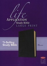 NKJV Life Application Study Bible. Large Print Black Bonded Leather - Imperfectly Imprinted Bibles