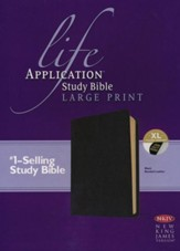 NKJV Life Application Study Bible. Large Print Black Bonded Leather, Indexed