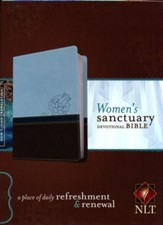 NLT Women's Sanctuary Devotional Bible, Cool Blue/Chocolate Rose LeatherLike