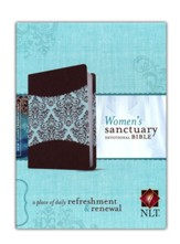 NLT Women's Sanctuary Devotional Bible, Espresso/Vintage Floral Fabric LeatherLike