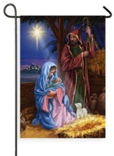 Mary and Joseph, Manger, Flag, Small