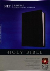 NLT Slimline Center Column Reference  Bible, Premium Black Bonded Leather