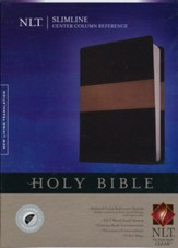 NLT Slimline Center Column Reference Bible, TuTone Black/Taupe Indexed LeatherLike - Slightly Imperfect