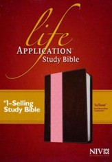 NIV Life Application Study Bible 2nd Edition, TuTone  Imitation Leather, dark brown/pink - Imperfectly Imprinted  Bibles