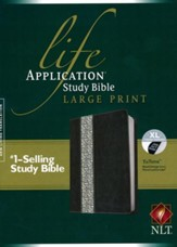 NLT Life Application Study Bible 2nd Edition, Large Print,  Tutone Back/Vintage Ivory Floral Leatherlike, Indexed -  Imperfectly Imprinted Bibles