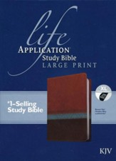KJV Life Application Study Bible Large Print Imitation Leather, brown/tan/heather blue Indexed - Slightly Imperfect
