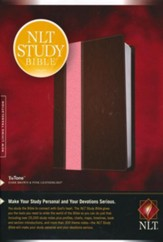 NLT Study Bible TuTone Imitation Leather, dark brown/pink Indexed - Slightly Imperfect