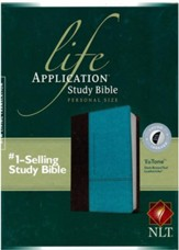 NLT Life Application Study Bible 2nd Edition, Personal Size  TuTone Imitation Leather, dark brown/teal Indexed