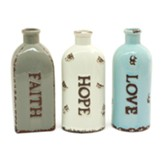 Faith, Hope, & Love, Set of 3 Ceramic Vases