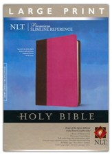 NLT Premium Slimline Reference Bible, Large Print, soft imitation leather, pink/brown