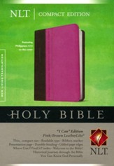 NLT Compact Edition TuTone Imitation Leather, Philippians 4:13 pink/brown