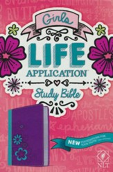 NLT Girls Life Application Study Bible, TuTone, LeatherLike, Purple/Teal Flower - Slightly Imperfect