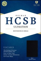 HCSB UltraThin Reference Bible, Bonded Leather, Black   - Slightly Imperfect