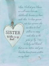 Sister Pewter Heart Ornament
