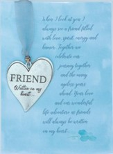Friend Pewter Heart With Ribbon And Bead Ornament