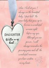 Daughter Pewter Heart With Ribbon And Bead Ornament