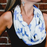 White Infinity Scarf with Blue Crosses