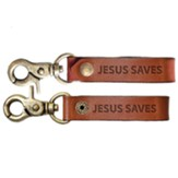 Jesus Saves Leather Keychain, Brown