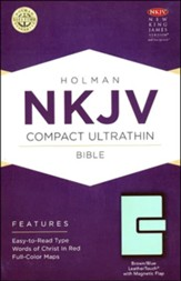 NKJV Compact UltraThin Reference Bible, Brown and Blue Imitation Leather with Magnetic Flap