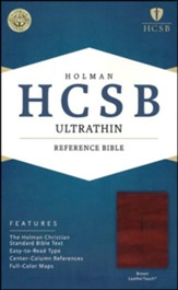 HCSB Ultrathin Reference Bible, Brown LeatherTouch