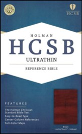 HCSB Ultrathin Reference Bible, Brown LeatherTouch, Thumb-Indexed