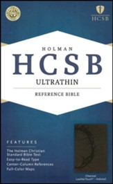 HCSB Ultrathin Reference Bible, Charcoal LeatherTouch, Thumb-Indexed