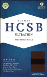 HCSB Ultrathin Reference Bible, Brown and Chocolate LeatherTouch, Thumb-Indexed