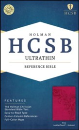 HCSB Ultrathin Reference Bible, Pink LeatherTouch, Thumb-Indexed