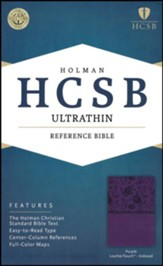 HCSB Ultrathin Reference Bible, Purple LeatherTouch, Thumb-Indexed
