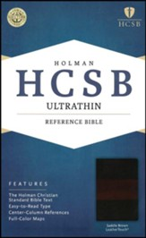 HCSB Ultrathin Reference Bible, Saddle Brown LeatherTouch, Thumb-Indexed