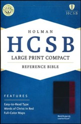 HCSB Large Print Compact Bible, Black and Burgundy LeatherTouch