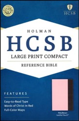 HCSB Large Print Compact Bible, Pink and Brown LeatherTouch