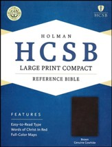 HCSB Large Print Compact Bible, Brown Genuine Cowhide