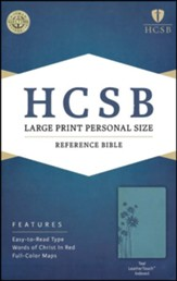 HCSB Large Print Personal Size Bible, Teal LeatherTouch, Thumb-Indexed , Flower