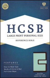 HCSB Large Print Personal Size Bible, Brown and Blue LeatherTouch with Magnetic Flap, Thumb-Indexed