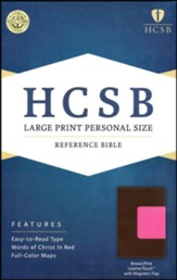 HCSB Large Print Personal Size Bible, Pink and Brown LeatherTouch with Magnetic Flap