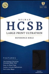 HCSB Large Print Ultrathin Reference Bible, Charcoal LeatherTouch