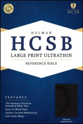 HCSB Large Print Ultrathin Reference Bible, Charcoal LeatherTouch, Thumb-Indexed