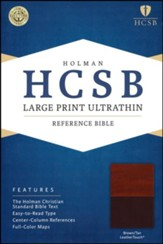 HCSB Large Print Ultrathin Reference Bible, Brown and Tan LeatherTouch