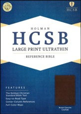 HCSB Large Print Ultrathin Reference Bible, Brown Genuine Cowhide - Slightly Imperfect