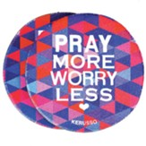 Pray More Worry Less Car Coasters, Pack of 2