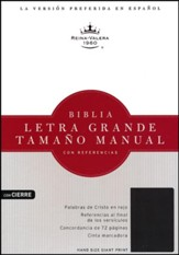 Biblia RVR 1960 Letra Gde.Tam. Manual Ref. Piel Fab. Negra Cierre   (RVR 1960 Hand Large-Pt Ref. Bible, Bk. Bon.  Leather Zipper)
