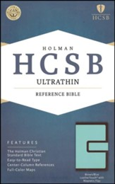 HCSB Ultrathin Reference Bible, Brown and Blue LeatherTouch with Magnetic Flap - Slightly Imperfect