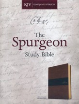 KJV Spurgeon Study Bible--soft leather-look, black/brown