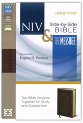 NIV and The Message Side-by-Side Bible, Large Print:   for Study and Comparison, Imitation Leather, Brown