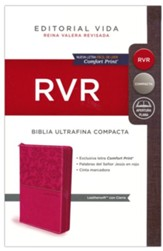 RVR Santa Biblia Ultrafina Compacta, Rosa con cierre (Thinline Compact Bible, Leathersoft Pink with Zipper)