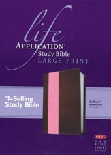 NKJV: Life Application Study Bible Large Print TuTone Leatherlike Brown/Pink - Slightly Imperfect