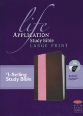 NKJV: Life Application Study Bible 2nd Edition, Large Print  TuTone Leatherlike Brown/Pink Index
