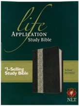 NLT Life Application Study Bible 2nd Edition, TuTone  Imitation Leather, Black/Vintage Ivory with Floral Design -  Slightly Imperfect