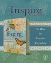 NLT Inspire Bible: The Bible for Creative Journaling, LeatherLike, Silky Vintage Blue/Cream - Slightly Imperfect
